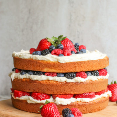 berry layer cake with vanilla buttercream frosting