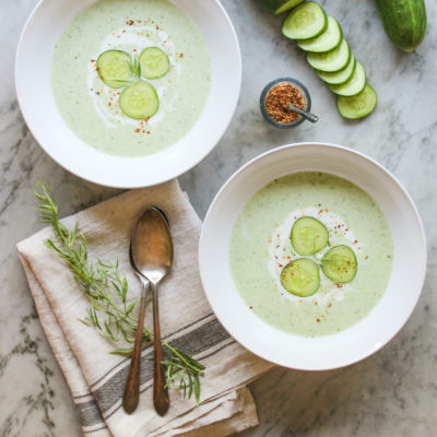 chilled cucumber, yogurt, and tarragon soup