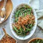 garlic green beans with mushrooms and crispy shallots
