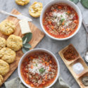 beef, tomato and pearl pasta soup