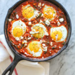 shakshuka with sauteed kale and feta cheese