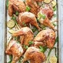 piri piri chicken with charred green onions and lime
