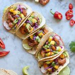 spicy shrimp tacos with mango and avocado relish