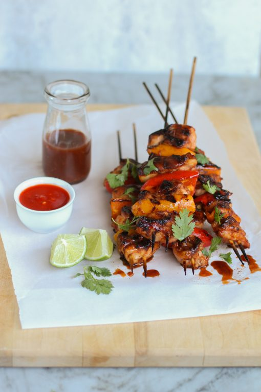 grilled sambal chicken skewers