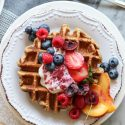 peanut butter and chia jam waffles
