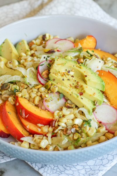 charred corn, fennel, and nectarine salad