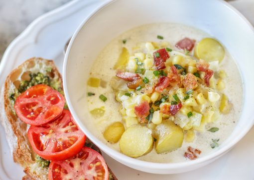 sweet corn chowder with fingerling potatoes and crispy bacon