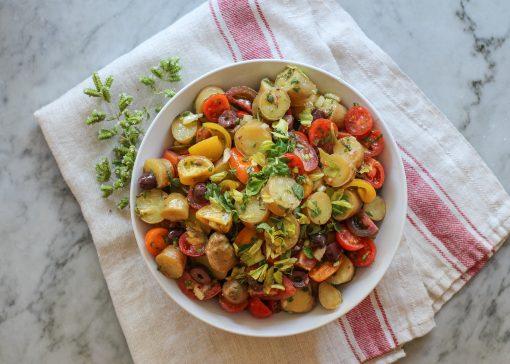 tomato, potato and herb salad