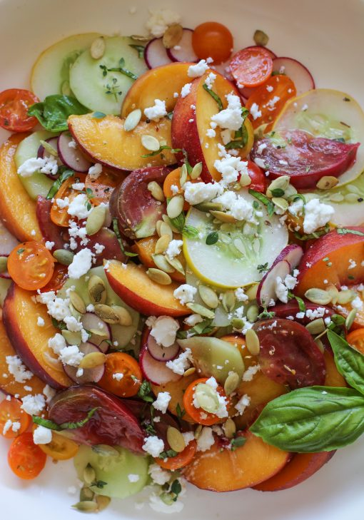 tomato, cucumber, and peach salad