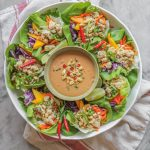 thai chicken lettuce cups with spicy peanut sauce
