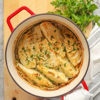 braised cabbage with horseradish cream