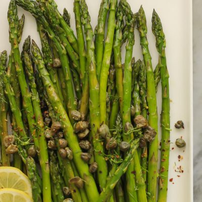 roasted asparagus with capers and lemon