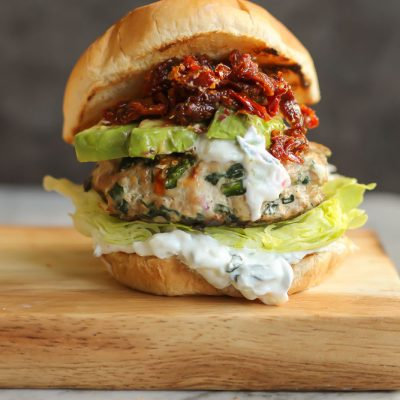 Greek feta and spinach turkey burgers
