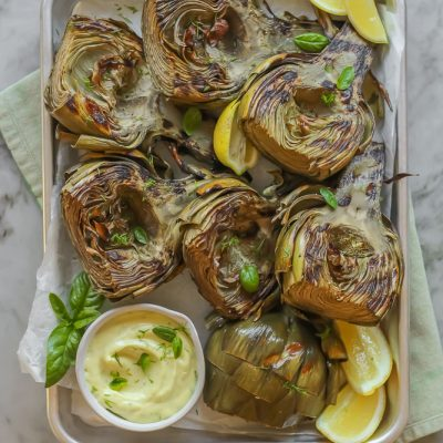 grilled artichokes with lemon-basil aioli